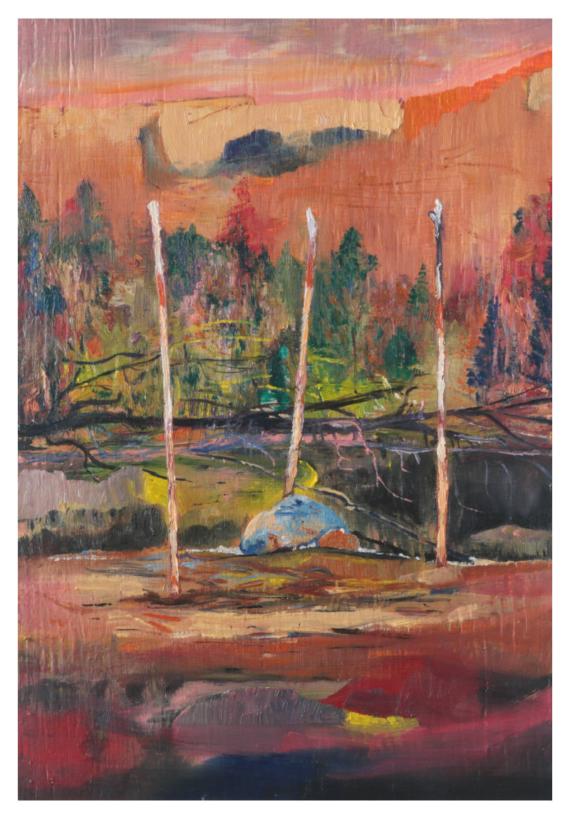 'Jagger poles on the cefn', 2020, oil on wooden panel, 19x27 cm