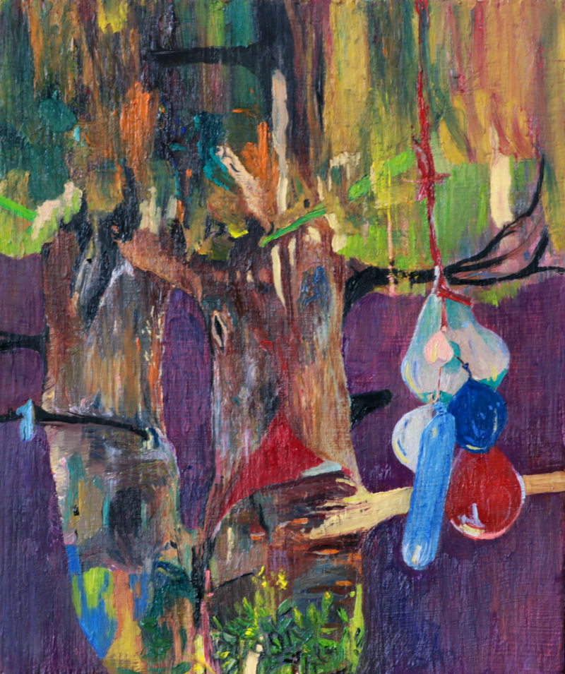 Richard Taylor artist, writer, editor: 'Party Tree', 2020, oil on wooden panel, 18x22cm
