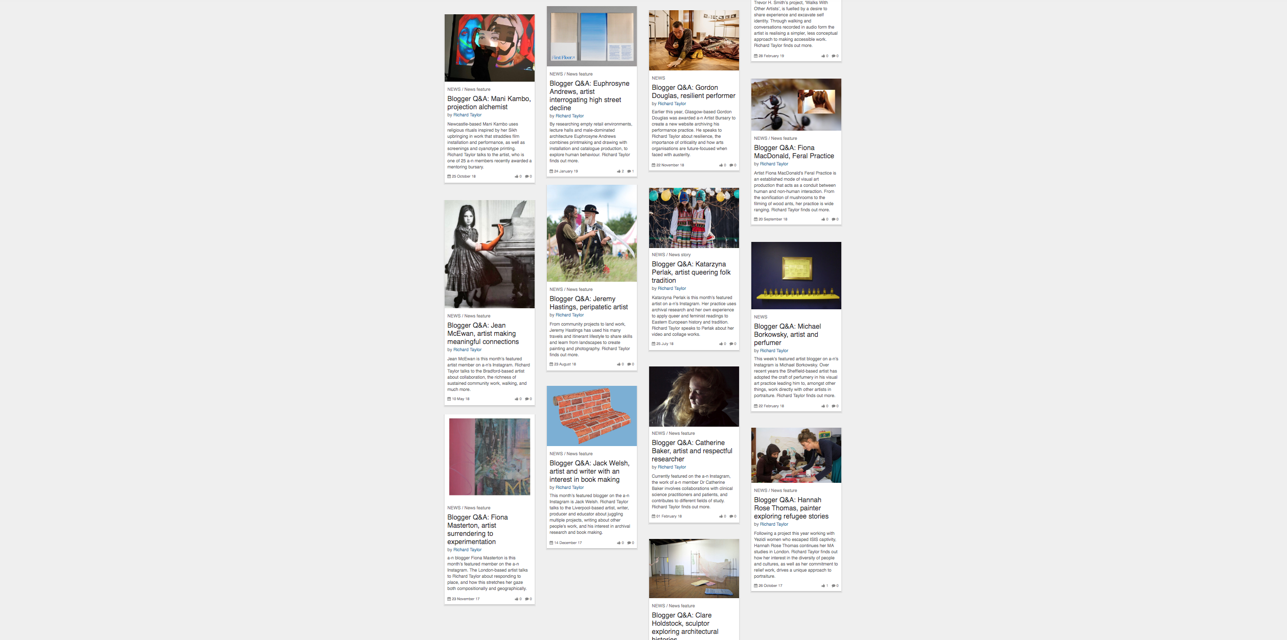 A screen-grab of tiled website content that shows images with text underneath. Shows a selected range of copy-editing for online content, as well as interviews and articles that I wrote, when working for a-n The Artists Information Company.