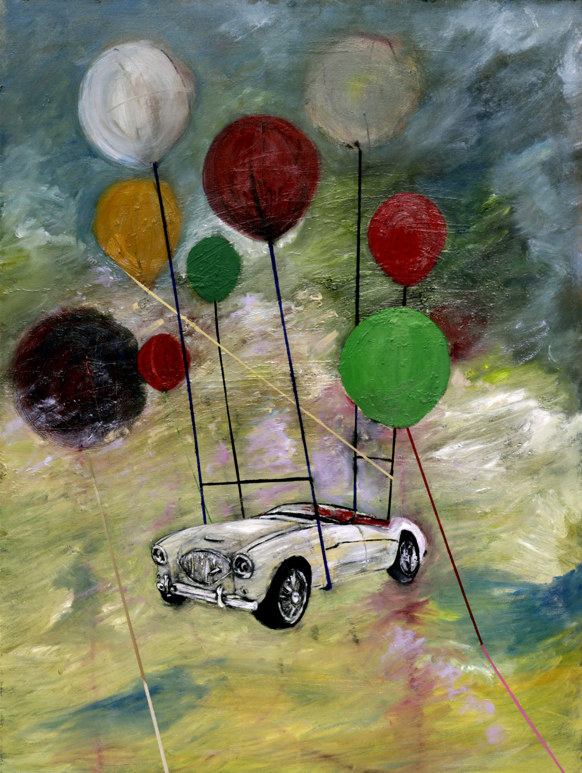 Oil paintings by Richard Taylor in Glasgow. The image depicts a vintage car raised high about a blanket of clouds. The car is mostly white in colour with red trimmings and black wheels. The car is held up by several brightly coloured balloons.