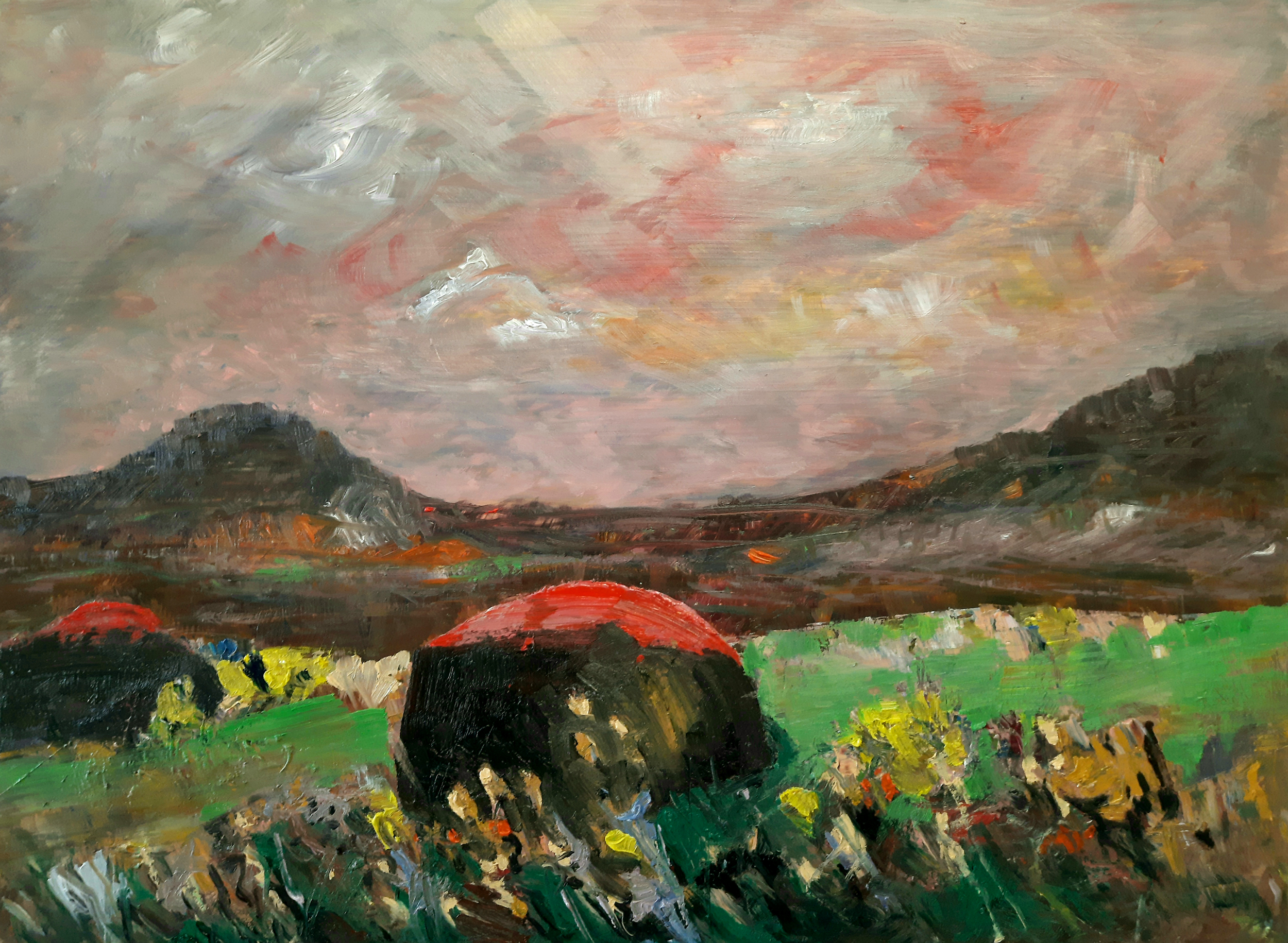 Oil Paintings by Richard Taylor. A landscape inspired by the moorland in the Peak District National Park in Derbyshire, United Kingdom. Forna dresses the foreground in bright greens, yellows and purple colours with blues and reds too. Two red-tipped rocks jut out and mirror the horizon, which depicts two escarpments or tors in muted brown colours. The rest of the image is a sky scape in greys, pinks, reds and yellows.